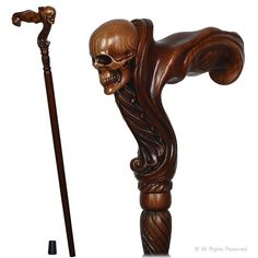 Buy GC-Artis Wooden Walking Cane with Skull Head Ergonomic Palm Grip Handle Wood Carved Walking Stick for Men Women Wooden Walking Canes, Wooden Walking Sticks, Walking Sticks And Canes, Winter Hacks, Creative Workshop, Skull Head, Wood Carving, Lovers Art, Hula