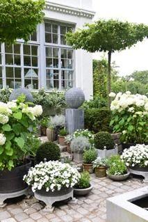 Beautiful formal white garden patio