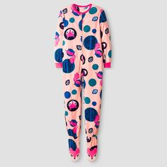 Girls' Fox Print Footed Blanket Sleeper Cat & Jack - Peach M, Girl's, Orange