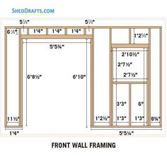 Slant Roof Utility Shed Plans Blueprints 03 Front Wall Framing Framing Construction, Shed Construction, Building A Cabin, Shed Building Plans, Diy Storage Shed, Diy Shed, Utility Sheds, Lean To Shed, Diy Wooden Projects