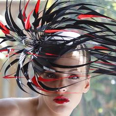 This may be a crazy hat, but somehow I just like it.  It's fascinating, and exotic looking. Couldn't resist pinning this.