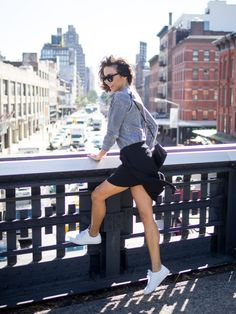 HIGH LINE KICKS | SEA OF BEES NYC look, fashion , post , new york , blogger , outfit , skirt , kicks , white , sneakers , celine , shades , glasses , seaofbees , nyc , highline , cool