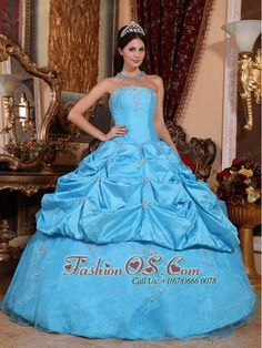 Perfect Aqua Blue Quinceanera Dress Strapless Taffeta and Organza Beading Ball Gown  http://www.fashionos.com  Look amazing from every angle by slipping into this unforgettable Quinceanera strapless gown! It has a boob tube top bodice with a painted-on look.Pick-ups piecing wraps a slender silhouette from empire waist through the midriff. The pickup skirt rounds out this amazing look perfectly.
