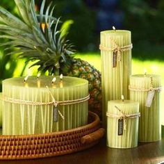 Items similar to Big 4 pcs Decorative Natural pineapple Scented Candle set, Home and bathroom Decor, Fruit scented Therapy Candles, room fragrance on Etsy Homemade Candles, Diy Candles, Scented Candles, Pillar Candles, Green Candles, Chandelier Bougie, Chandeliers, Candle Art, Candle Lanterns