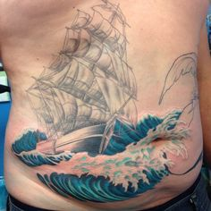 First color session on this ship/mermaid piece.  By Mike Pritchett at Matchless Tattoo
