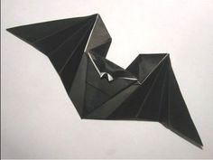 """Origami """"Hungry Bat"""" by Anita Barbour. Easy origami from printer paper. You can make it flap its wings :)"""