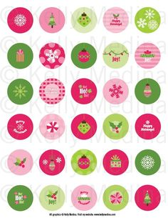 """Christmas - Pink and Green - Clip Art 1.313"""" Circle Digital Collage Sheet - Commercial use for Buttons, Magnets, Paper Crafts and Products. $2.99, via Etsy."""