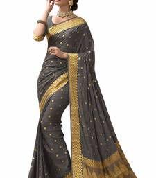 Buy Grey plain banarasi silk saree with blouse banarasi-silk-saree online