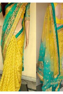 Drape this Yellow coloured saree from Grab and Pack and look pretty like never before. This beautiful saree features a classy print all over, which makes it a smart pick for casual occasions. Made from Nylon Net and Georgette, this sari Sari Blouse Designs, Fancy Blouse Designs, Indian Fashion Dresses, Saree Fashion, Women's Fashion, Ethnic Fashion, Indian Outfits, Wedding Silk Saree, Bridal Sari