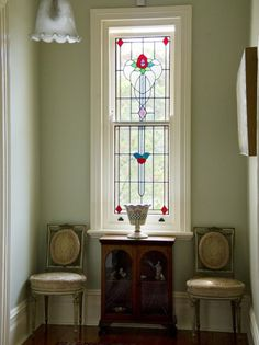 Leadlight window, 'Abyia' Queen Anne Federation home in Pymble (Sydney) Australia