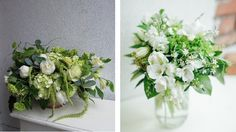 White and green floral arrangements by Celsia Florist.
