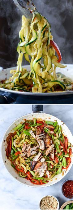 Drunken Thai Zucchini Noodles!! I howsweeteats.com