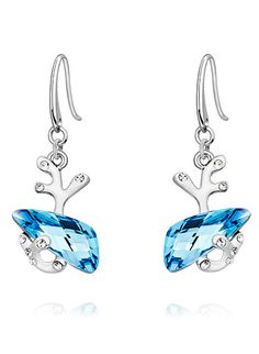 Awesome Horn Earings - #Blue and #Red for Rs. 1199 #Indian #Jewelry #Swarovski #crystal #earring