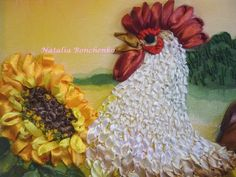 Silk ribbon rooster CU