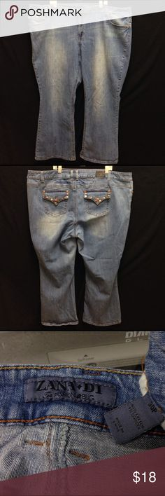 Zana•Di Studded Pockets Boot Cut Denim Jeans Waist 59 Front Rise 12.5 Back Rise Inseam 28. These pants are in good condition. They have no rips stains or tears. They have some slight fading and wear. Fashion Bug Jeans Boot Cut