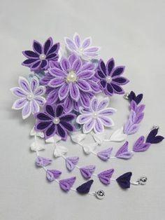 つまみ細工・花簪 淡紫 ヘアアクセサリー 和小物 藤乃 ハンドメイド通販・販売のCreema