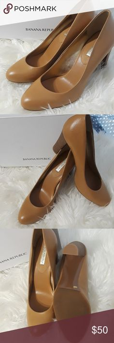Miranda Tan Leather Banana Republic shoes Brand new, never worn. Comes in a box and very comfortable leather shoes Banana Republic Shoes Heels