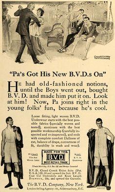 1916 men clothes | 1916 Ad B. V. D. Underwear Men's Clothing Fabric Dance - ORIGINAL ...