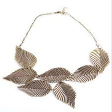Bronze Leaves Bib Style Necklace only $1.48 Shipped