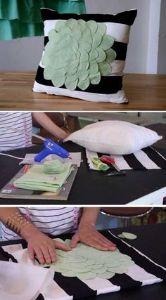 Cheap DIY Tutorial for Teens   Flower Applique Pillow by DIY Ready at http://diyready.com/27-easy-diy-projects-for-teens-who-love-to-craft/