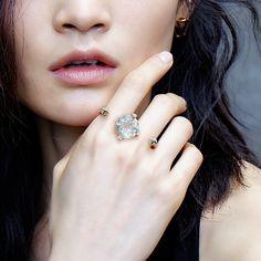 """""""Power Rock"""" Rutilated Topaz Diamond Two Finger Ring - Plukka - Shop Fine Jewelry Online"""
