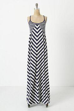 Smocked Maxi Chemise #anthropologie #dress #navy #stripes