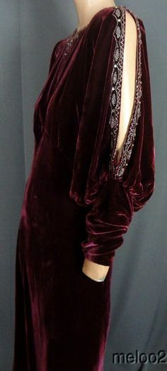 ~1930s BEADED MERLOT SILK VELVET GOWN w SPLIT SLEEVES & JEWELS