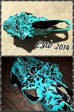 Custom Painted Horse Skull by CWoodsCreations on Etsy