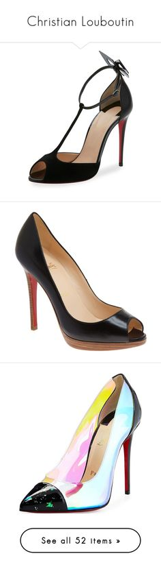 """""""Christian Louboutin"""" by designing-myworld ❤ liked on Polyvore featuring shoes, pumps, black, black leather shoes, ankle strap pumps, christian louboutin pumps, d orsay pumps, black leather pumps, black court shoes and peep-toe pumps"""