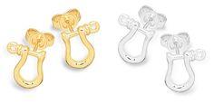 Shackle Earrings Miniature Stud - Available in Silver - 14k & 18k #miniatureshackle #silverearrings #goldearrings #studback