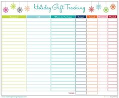 Freebie printables for you to choose from, which can help you track your gift purchases and budget year after year!