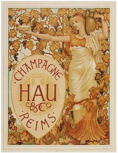 Poster for Champagne Hau  Color Lithograph  Walter Crane, 1894  The Victoria & Albert Museum