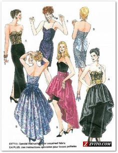 Vintage Prom Dress Formal Sewing Pattern Detachable Skirt Slim-Fit Cummerbund