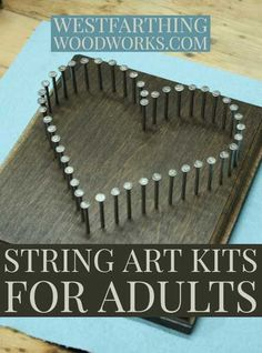 String art kits for adults is a series of great looking and challenging string art kits that you will love to make. They are all fun, and the design are really nice looking. Woodworking With Resin, Woodworking Books, Easy Woodworking Projects, Woodworking Classes, Custom Woodworking, Woodworking Furniture, Youtube Woodworking, Woodworking Beginner, Popular Woodworking