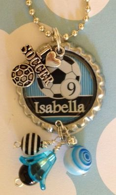 Personalized soccer necklace $16 FREE SHIPPING Bottle Cap Jewelry, Bottle Cap Necklace, Bottle Cap Art, Bottle Cap Crafts, Diy Jewelry, Jewelry Necklaces, Unique Jewelry, Soccer Crafts, Soccer Necklace