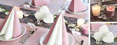 Tischdekoration zur Hochzeit in Softviolett / Vintagelook mit Orchideen-Girlande und Herzen