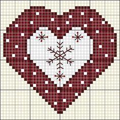Stickvorlage-Herz Snowflake Heart