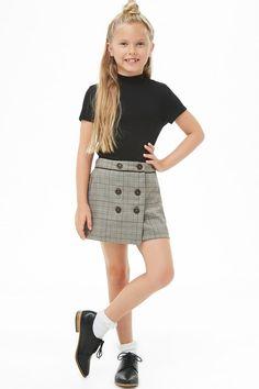 Girls Double-Breasted Glen Plaid Skirt (Kids) - Kids styling at - Preteen Girls Fashion, Teenage Girl Outfits, Kids Outfits Girls, Cute Girl Outfits, Girls Fashion Clothes, Girl Fashion, Fashion Outfits, Toddler Fashion, Kids Clothing