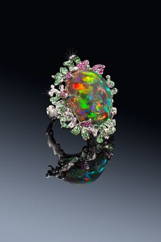 Katherine Jetter Creeping Vine Ring Incredible Collectors Gem, 18K White Gold, 17.95ct Mexican Anhydrous Fire Opal Diamonds, Tsavorite and Ruby pave.