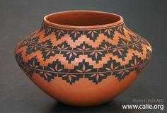 Original Native American Indian pottery art by Mark Wayne Garcia, Pueblo, Santa Domingo, New Mexico.