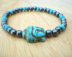 Men's Spiritual Protection Tibetan Buddha Bracelet with Semi Precious Turquoise, Hematites and Carved Tibetan Buddha Turquoise - Yoga Man