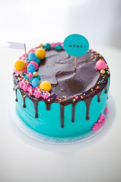 teal drippy fancy candy cake - Coco Cake Land
