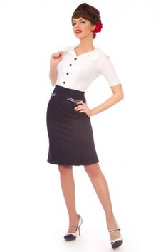 Rock Steady Clothing - 50s The Captain Pencil Dress navy/white