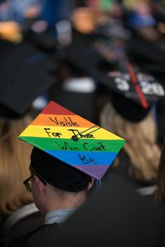 "2017 UNH Durham Commencement Honors Ceremony - Diversity themed mortarboard / graduation cap, rainbow: ""Visible for those who can't be"" GBLTQ Pride"