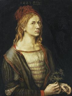 The earliest painted Self-Portrait  — 1493 — by Albrecht Dürer. Portrait of the artist holding a thistle. Oil, originally on vellum. Louvre, Paris