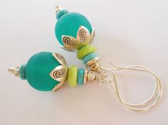 Green Resin Earrings Turquoise Hill Tribe by MagnoliaStudio, $32.00
