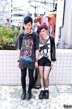 Punky Harajuku Guy & Girl w/ Kiss Shirt, Torn Stockings, Bindi & Spikes