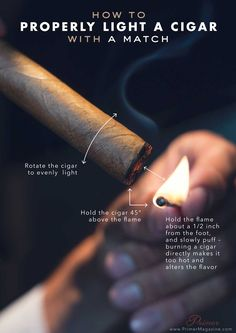 How to Properly Light a Cigar with a Match Cigars And Whiskey, Good Cigars, Pipes And Cigars, Cigar Art, Cigar Accessories, Cigar Humidor, Cigar Room, Cigar Smoking, Smoking Pipes