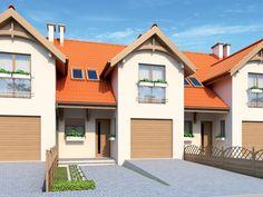 Dom parterowy z poddaszem użytkowym, niepodpiwniczony z garażem jednostanowiskowym, przeznaczony dla 4-osobowej rodziny.