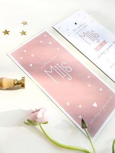 Lief geboortekaartje met hartjes in het oud roze, voor kleine Mijs. Geboortekaartje meisje ontwerp in het| pink | roze | okergeel | mintgroen | www.charlyfine.nl